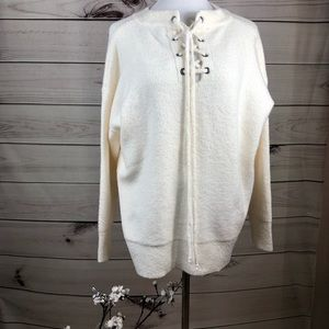 Sweater cream NWT criss cross neck